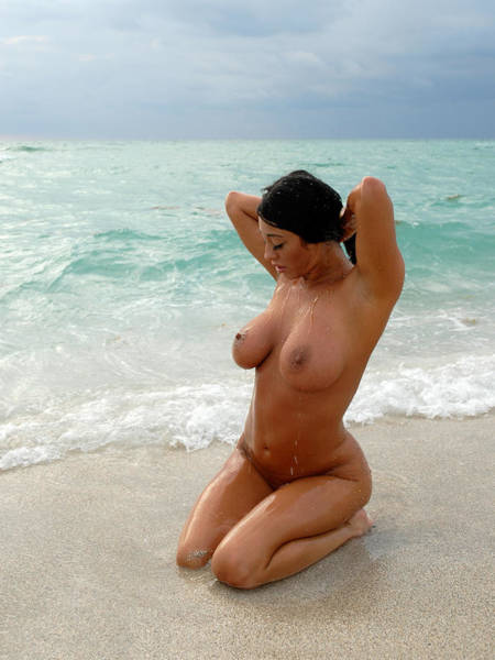 9037 Large Breasted Woman Sitting Nude On Beach Poster