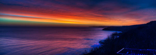 A Bright Colored Sunrise Panoramic At Scarborough Uk Poster