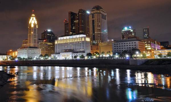 A Columbus Night Over The Scioto Poster