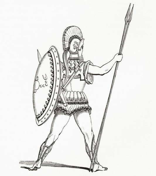 A Heavily Armed Greek Warrior Dressed For Battle.  From The Imperial Bible Dictionary, Published Poster