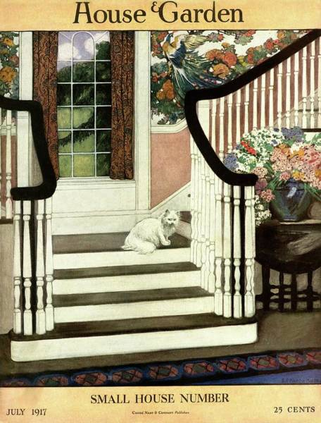 A House And Garden Cover Of A Cat On A Staircase Poster