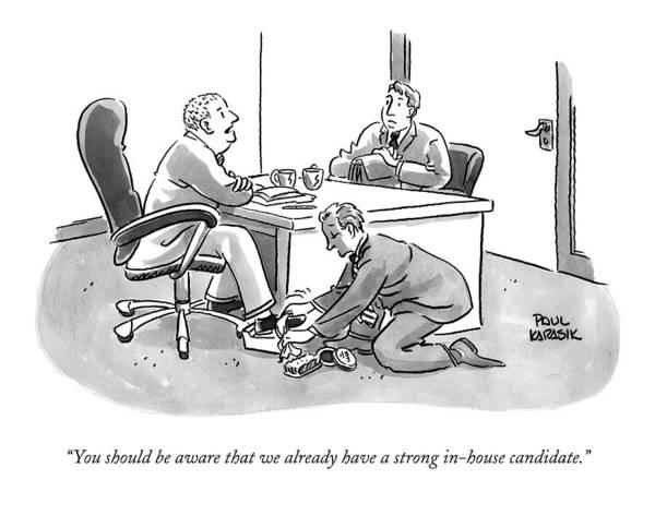 A Job Interviewer Tells An Interviewee Poster