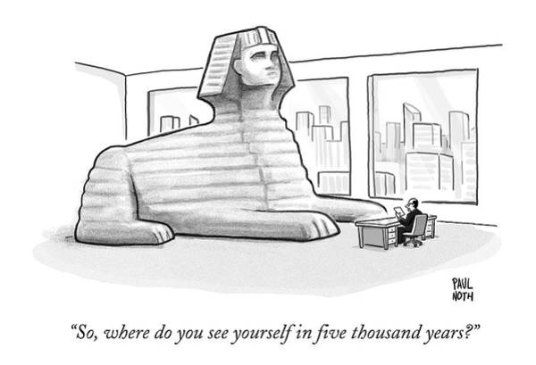 A Large Sphinx Sits In Front Of A Desk Poster