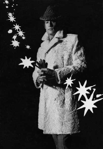 A Male Model In A Flat Moire-textured Pelt Coat Poster