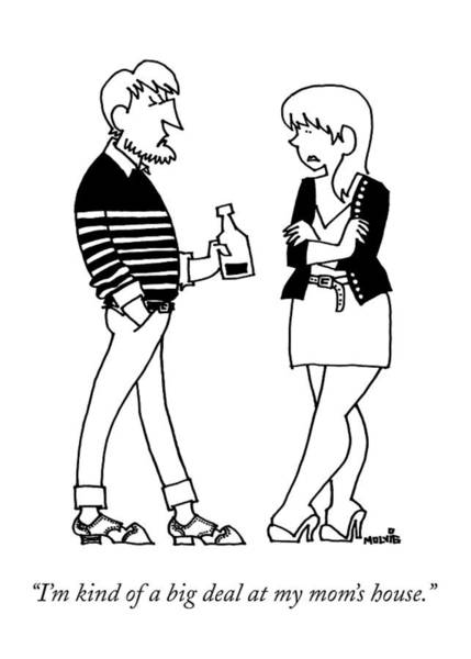 A Man Wearing A Striped Sweater Introduces Poster