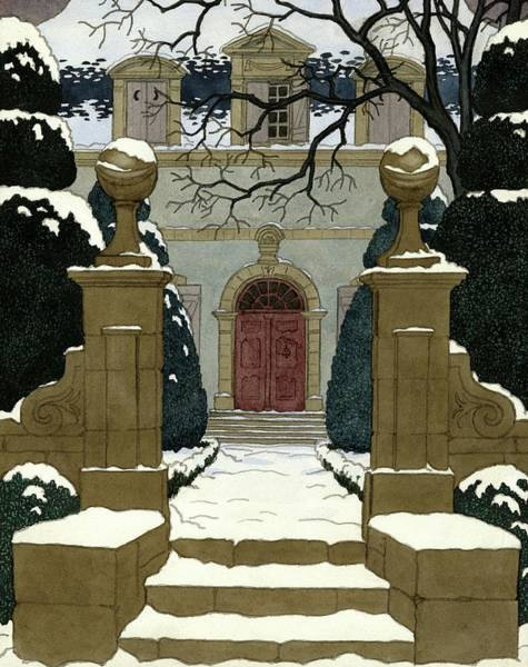 A Snow Covered Pathway Leading To A Mansion Poster