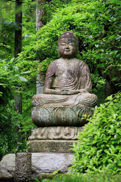 A Stone Buddha Statue In The Grounds Poster