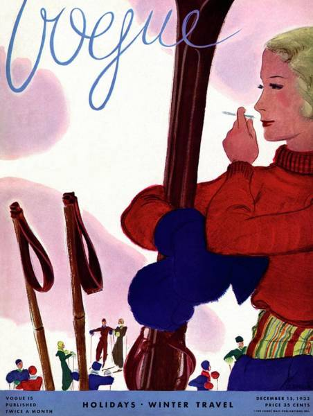 A Vogue Cover Of A Woman Holding Skis Smoking Poster