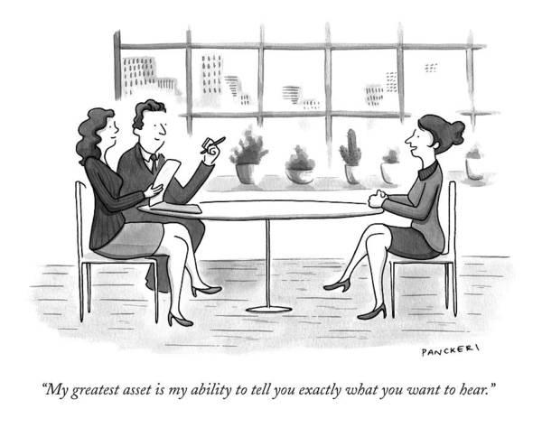 A Woman Interviews For A Job Poster