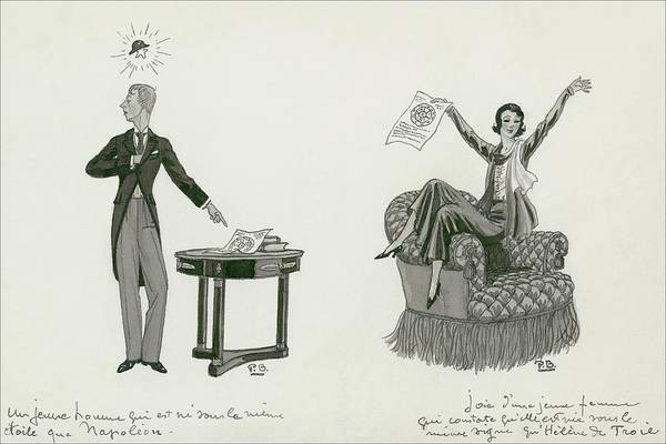 A Woman Sitting On An Armchair And A Man Pointing Poster