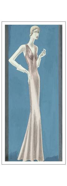A Woman Wearing A Mainbocher Evening Gown Poster