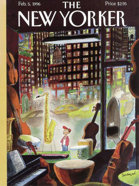 A Young Boy Admires A Saxophone Poster