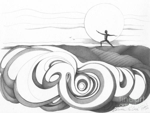 Abstract Landscape Art Black And White Yoga Zen Pose Between The Lines By Romi Poster