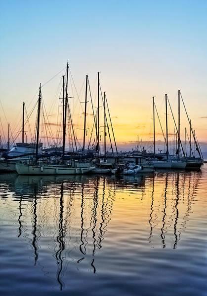 Aegina Harbour Sunset Poster