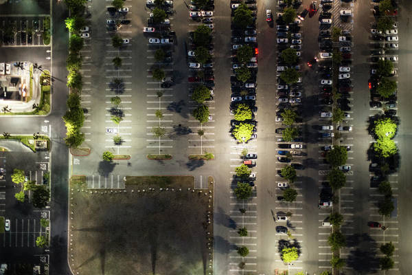 Aerial View Of  The Suburb Parking,la Poster