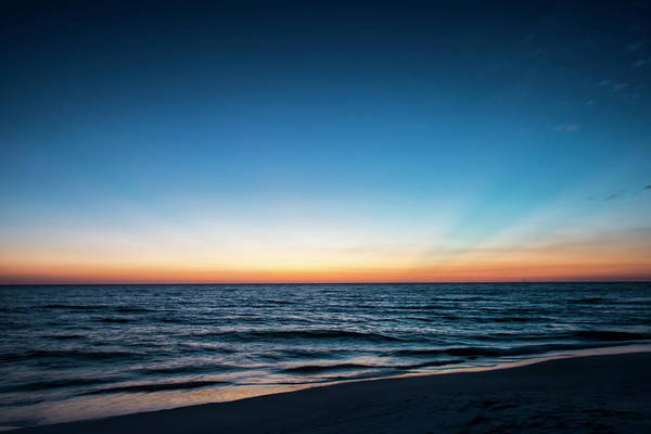 Afterglow Of Light Streaking Deep Blue Poster