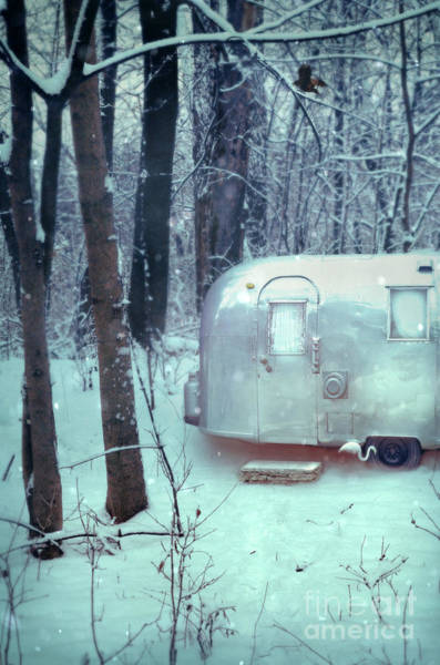 Airstream Trailer In Snowy Woods Poster