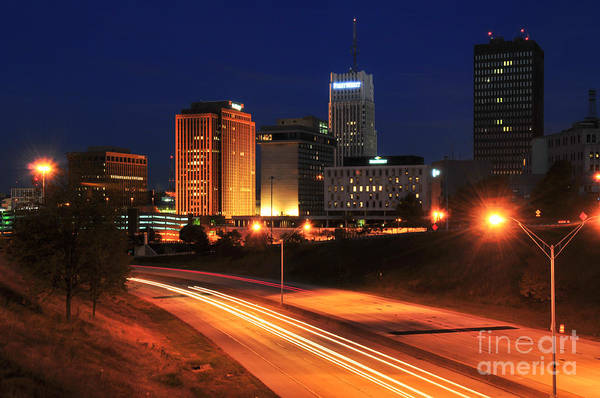 D1u-140 Akron Ohio Night Skyline Photo Poster