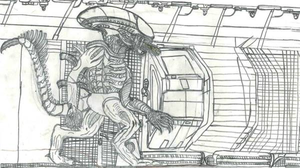Poster featuring the drawing Alien by Fred Hanna