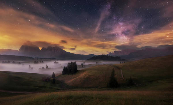 Alpe Di Siusi At Night Poster