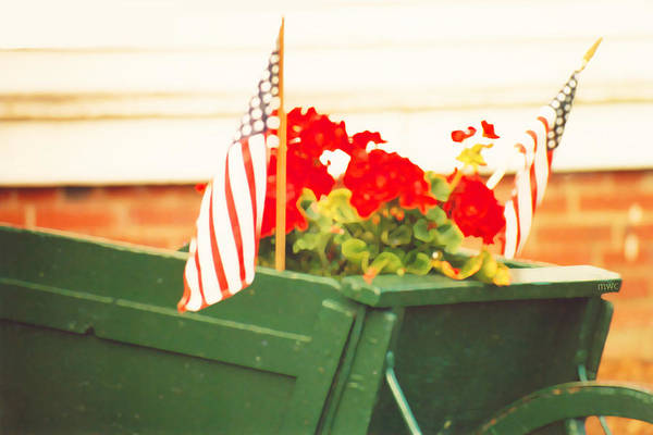 American Flags And Geraniums In A Wheelbarrow In Maine, Two Poster