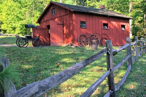 Amish Barn Along A Fenceline Poster