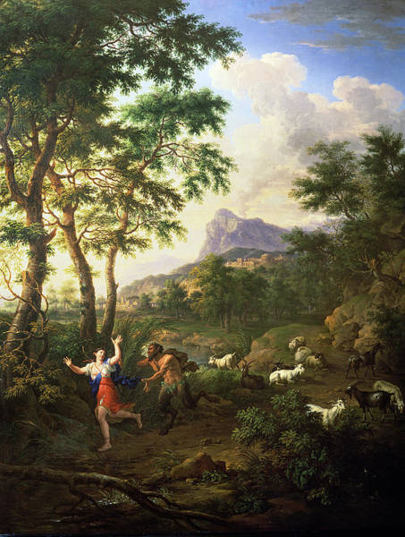 An Arcadian Landscape With Pan And Syrinx Poster