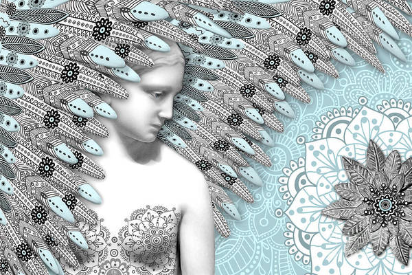 Poster featuring the digital art Angelica Hiberna - Angel Of Winter by Christopher Beikmann