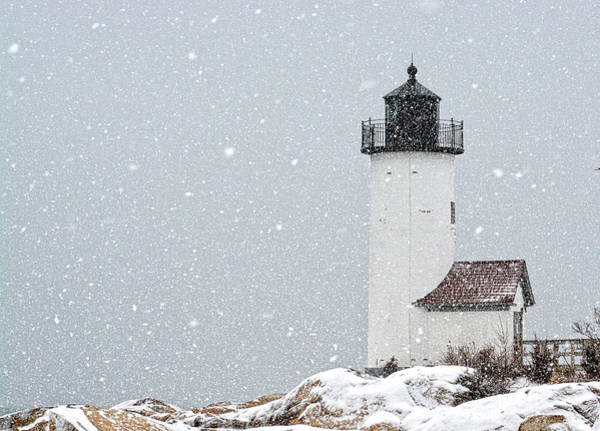 Poster featuring the photograph Annisquam Light-snow Storm 2 by Michael Hubley