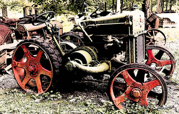 Antique Case Tractor Red Wheels Poster