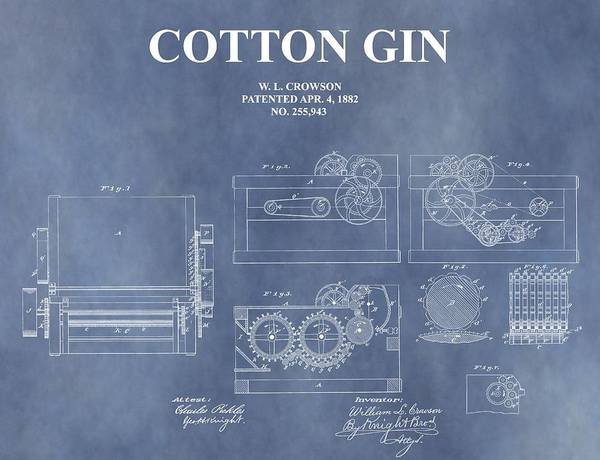 Antique Cotton Gin Patent Poster