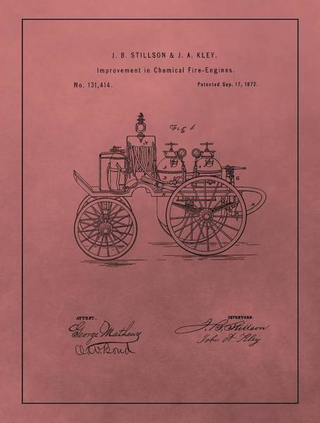Antique Fire Engine Patent On Red Poster