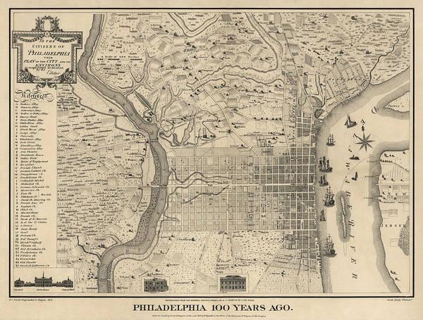 Antique Map Of Philadelphia By P. C. Varte - 1875 Poster
