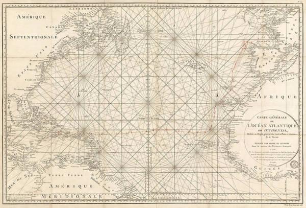 Antique Map Of The Atlantic Ocean - 1792 Poster