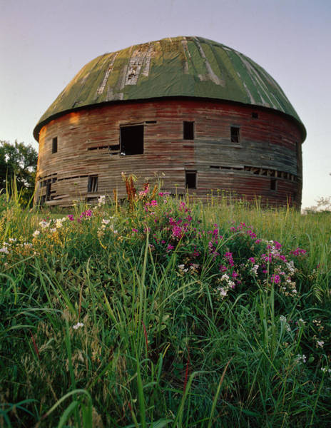 Arcadia Round Barn And Wildflowers Poster