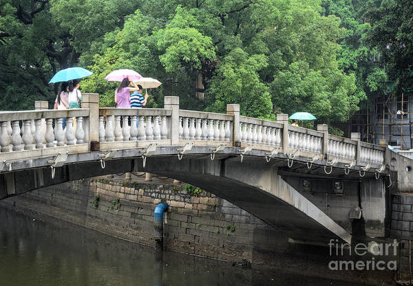 Arched Chinese Bridge With Umbrellas - Shamian Island - Guangzhou - Canton - China Poster