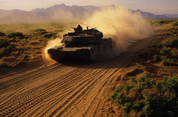 Army Tank On Dusty Road In Training Poster