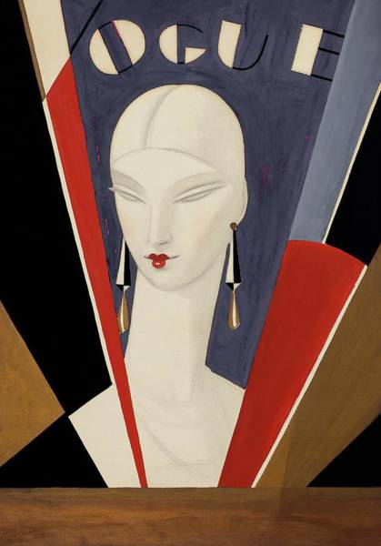 Art Deco Vogue Cover Of A Woman's Head Poster