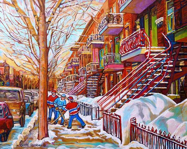 Art Of Montreal Staircases In Winter Street Hockey Game City Streetscenes By Carole Spandau Poster