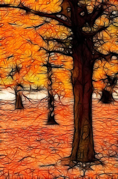 Artistic Fall Trees Poster