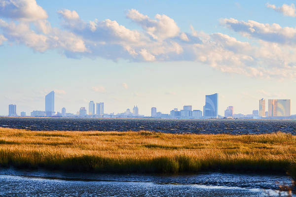 Atlantic City Skyline From Salt Marsh Poster