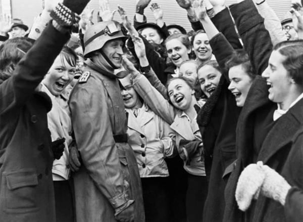 Austrians Cheer Panzer Driver Poster