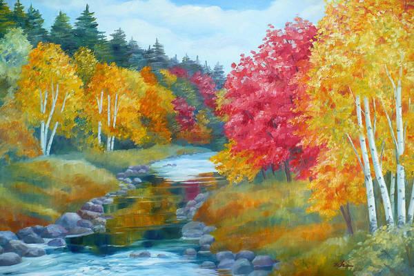 Autumn Blaze With Birch Trees Poster