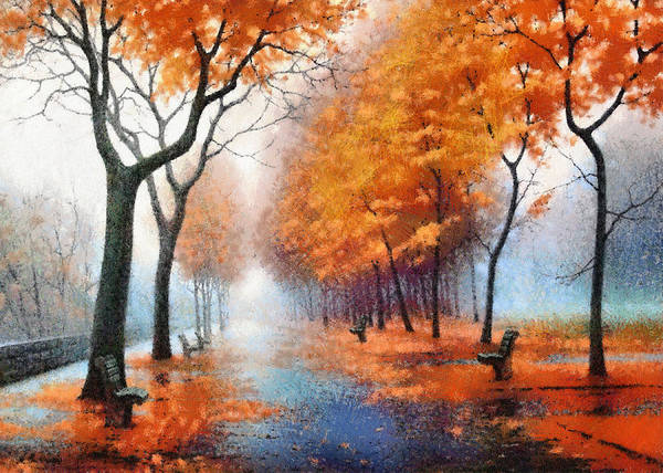 Autumn Boulevard Poster