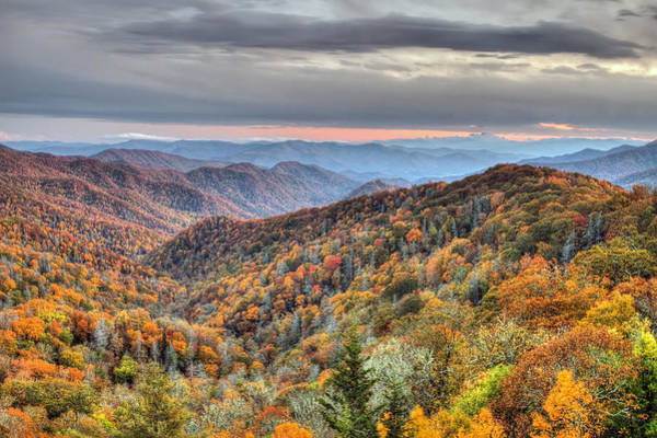 Autumn Colors On The Blue Ridge Parkway At Sunset Poster
