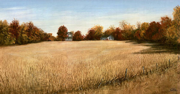 Poster featuring the painting Autumn Field Southern Maryland by G Linsenmayer