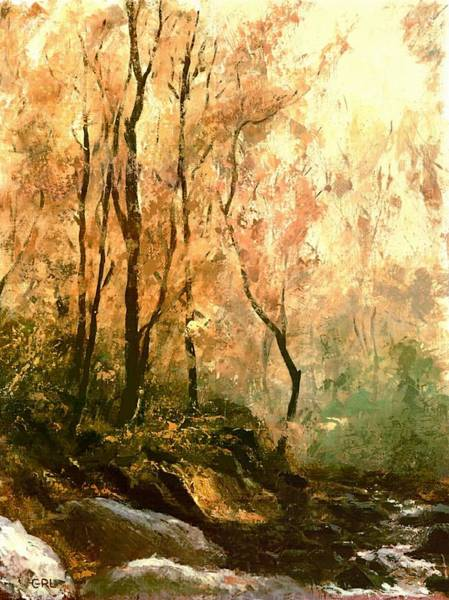 Poster featuring the painting Autumn Forest Baltimore Maryland by G Linsenmayer