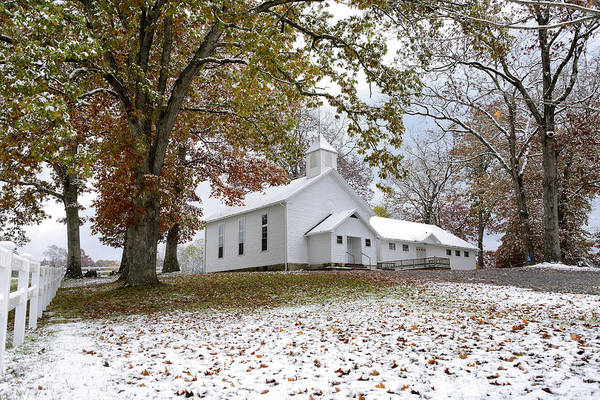 Autumn Snow And Country Church Poster