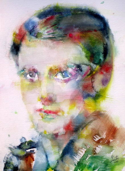 Ayn Rand - Watercolor Portrait Poster