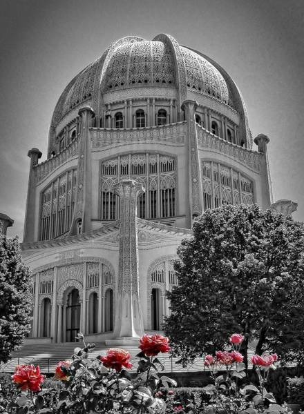 Bahai Temple Wilmette In Black And White Poster